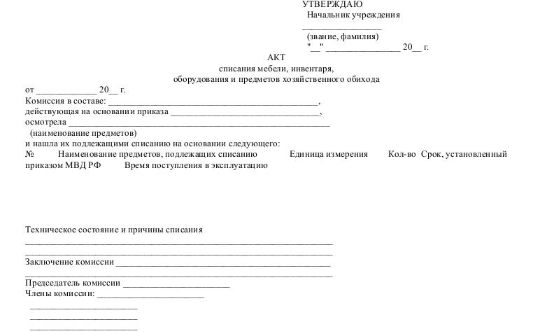 Образец акта списания оборудования
